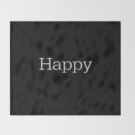 HAPPY! Black & White Throw Blanket