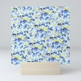 Doodle blue flowers pattern, Light Blue background Mini Art Print
