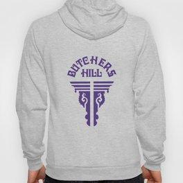 Butchers Hill Vertical Logo, Purple Hoody