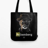 heisenberg Tote Bags featuring Heisenberg by Caroline Fogaça