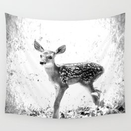 The Sweetest fawn Black & White Wall Tapestry