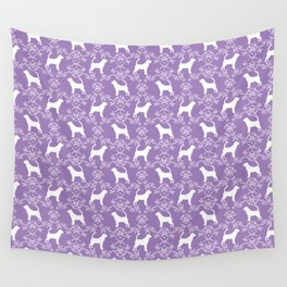 Bloodhound purple and white minimal floral pattern dog breeds pet art Wall Tapestry