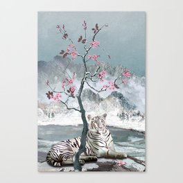 White Tiger And Plum Tree Canvas Print