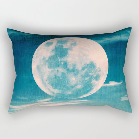 Full moon - Blue Rectangular Pillow