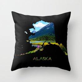 Alaska Outline - God's Country Throw Pillow