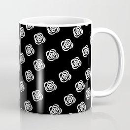 White Rose, Black Background Coffee Mug