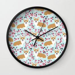 Corgi cherry blossom florals dog must have cute welsh corgis gifts pure breed Wall Clock