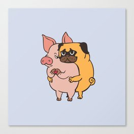 Friend Not Food Pug Canvas Print