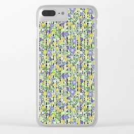 Yellow green floral pattern on a striped background. Clear iPhone Case