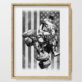 ATV 4Wheeler Racer Jacked USA Flag Serving Tray
