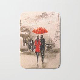 Walk in Paris rain Bath Mat