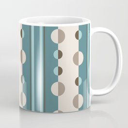 Circles and Stripes in Teal and Cream Coffee Mug