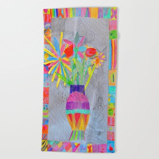 Flower Vase | Kids Painting | 3D Collage Beach Towel