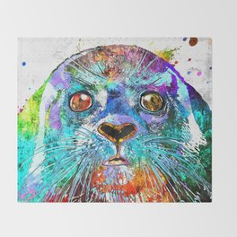 Seal Watercolor Grunge Throw Blanket