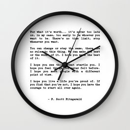 For what it's worth... it's never too late or, in my case Wall Clock