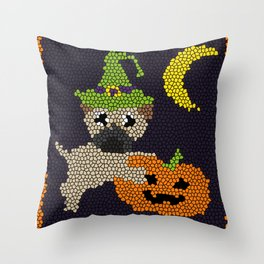Cute Halloween Pug in Stained Glass Style Throw Pillow