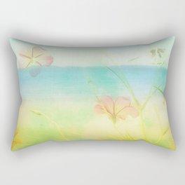 Dreamy Summer Beach Flowers Rectangular Pillow