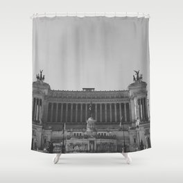 Black & white photo, Victor Emmanuel II Monument, Altar of the Fatherland, Rome photography Shower Curtain