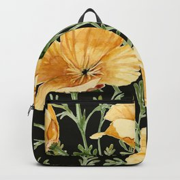 California Poppies on Charcoal Black Backpack
