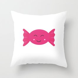 Pink candy bonbon with smile Throw Pillow
