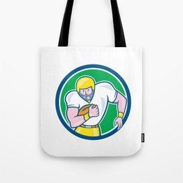 American Football Fullback Circle Retro Tote Bag