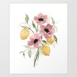 Watercolor-poppies-and-lemons Art Print