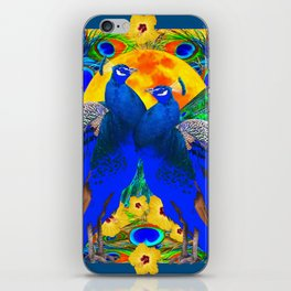 TEAL YELLOW HIBISCUS & BLUE PEACOCKS ART iPhone Skin