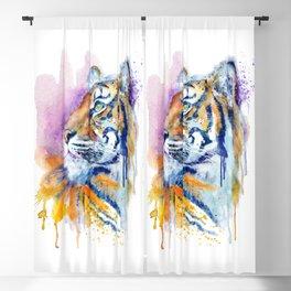 Young Tiger Watercolor Portrait Blackout Curtain