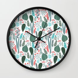 Colorful tropical laves pattern Wall Clock