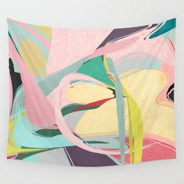Shapes and Layers no.23 - Abstract Draper pink, green, blue, yellow Wall Tapestry