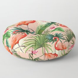 Pink flamingoes, tropical palm leaves, retro, Hollywood style,  Floor Pillow
