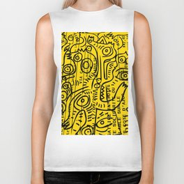Yellow Street Art Graffiti Train Ticket Biker Tank