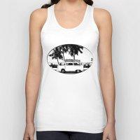 volkswagon Tank Tops featuring Vintage Beach Van  by kishbish