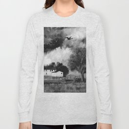 Farmhouse Watercolor (Black and White) Long Sleeve T-shirt