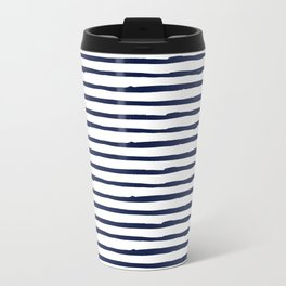 Navy Blue Stripes on White Metal Travel Mug