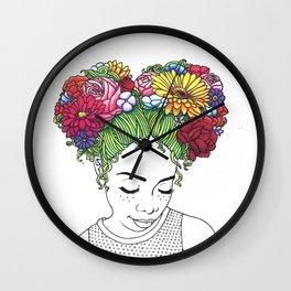 Flowered Hair Girl Wall Clock