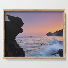 Big Wave. La Joya Beach At Sunset. Spain Serving Tray