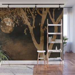 Golden Moon and Tree Wall Mural