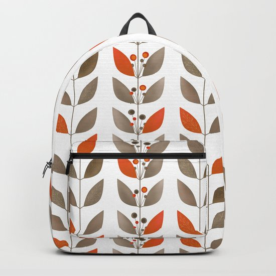 Retro pattern . Autumn leaves . Backpack
