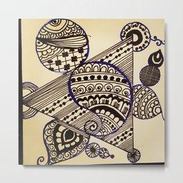 Geometric henna Metal Print