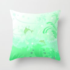 Dolphins Swimming Throw Pillow