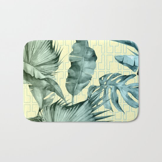 Simply Island Mod Palm Leaves on Pale Yellow Bath Mat