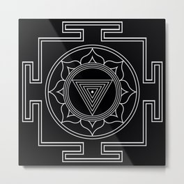 Kali yantra black symbol Metal Print