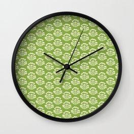 Folksy Flowers in Spring Green Wall Clock