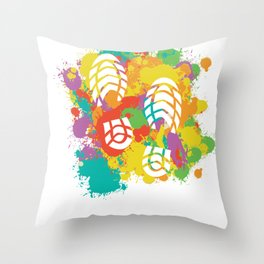 Shoe Prints With A Colorful Frame Throw Pillow