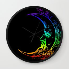 Boho Crescent Moon Rainbow Man On Moon Wall Clock