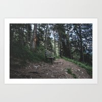 Resting bench on hiking trail in the Alps Art Print