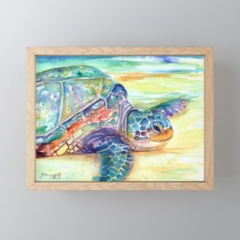 Rainbow Sea Turtle 2 Framed Mini Art Print