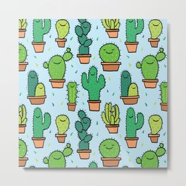 Cute Cactus Cacti Pattern Light Blue Background Metal Print