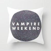 vampire weekend Throw Pillows featuring Vampire Weekend glitters logo by Van de nacht